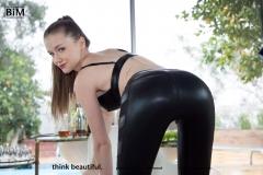 Emily Bloom Big Boobs Black Wetlook Leggings and Heels 003