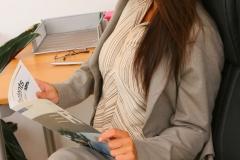 Emma Twigg Big Boob Secretary in Grey Suit 004