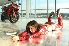 Erica Campbell Big Tits Red and Silver Leather ActionGirl 010