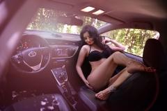 Erika Larson Big Boobs Lingerie ina Car 001