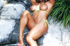 Esperanza Gomez Boobs Lime Green Bikini Getting Wet 08