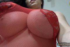 Ewa Sonnet Big Boobs in Red Lacy Lingerie 002