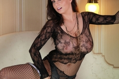 Ewa Sonnet Huge Boobs in a Black Lace Bodystocking 006