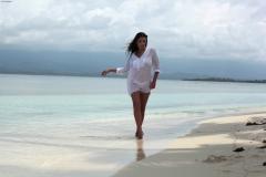 Ewa Sonnet Huge Boobs in a Sheer Shirt on the beach 001