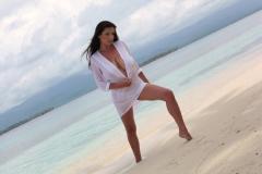 Ewa Sonnet Huge Boobs in a Sheer Shirt on the beach 005