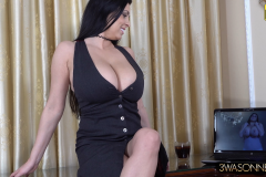 Ewa Sonnet Huge Breasts Buttons Come Off Tight Black Dress 002