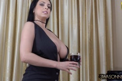 Ewa Sonnet Huge Breasts Buttons Come Off Tight Black Dress 006