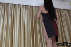 Ewa Sonnet Huge Breasts Buttons Come Off Tight Black Dress 007