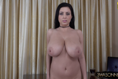 Ewa Sonnet Huge Breasts Buttons Come Off Tight Black Dress 016