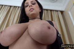 Ewa Sonnet Huge Breasts Buttons Come Off Tight Black Dress 017