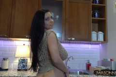 Ewa Sonnet Huge Breasts Naked Under a Crochet Top 005