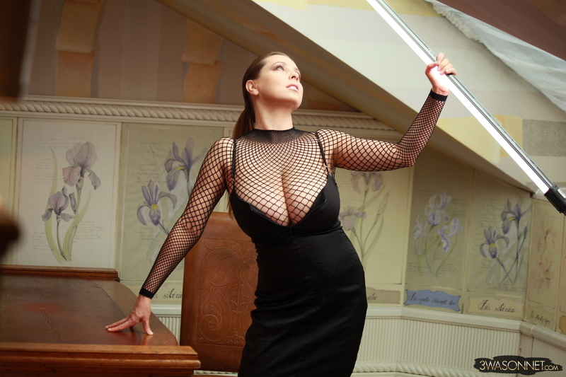 Ewa-Sonnet-Huge-Titis-in-Fishnet-Dress-004