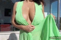 Ewa-Sonnet-Huge-Tits-Go-Solo-in-The-green-Dress-002