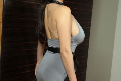 Ewa Sonnet Huge Tits in Grey Dress 001