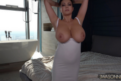 Ewa-Sonnet-Huge-Tits-in-Tight-Slinky-Nightie-003