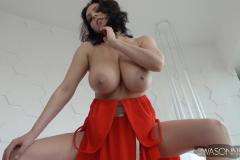 Ewa-Sonnet-Huge-Tits-in-Red-Genie-Dress-014