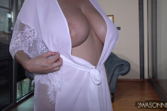 Ewa Sonnet Huge Tits in Silky Dressing Gown 002