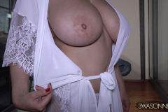 Ewa Sonnet Huge Tits in Silky Dressing Gown 008