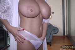 Ewa Sonnet Huge Tits in Silky Dressing Gown 012