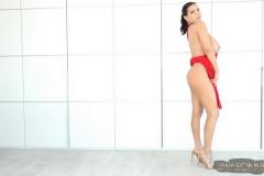 Ewa-Sonnet-Huge-Tits-in-Slinky-Red-Dress-006