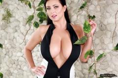 Ewa Sonnet Massive Tits in Black and White Swimsuit 001