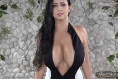 Ewa Sonnet Massive Tits in Black and White Swimsuit 005