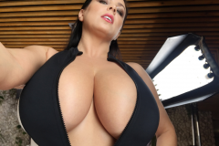 Ewa Sonnet Massive Tits in Black and White Swimsuit 021