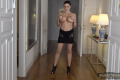 Ewa Sonnet Naked Huge Tits in Seethrough Lacy Dress 011