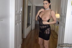 Ewa Sonnet Naked Huge Tits in Seethrough Lacy Dress 009