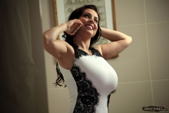 Ewa Sonnet tits tight in white dress 006