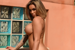 Gemma Massey Big Boobs GEt Naked Out of Green Swimsuit 012