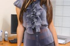 Gemma Massey Big Boobs Silky Shirt and Miniskirt Secretary Looks Hot 001