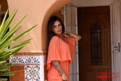 Gemma Massey Big Tits exposed from Orange Minidress 01