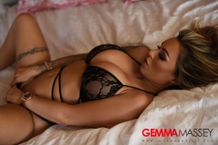 Gemma Massey Big Tits in Black Lacy Lingerie on a Bed 002