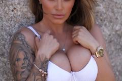 Gemma Massey Big Tits White Bikini Top 002