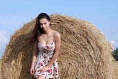 Helga Big Boobs Summer Dress in a Field 001