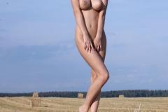 Helga Big Boobs Summer Dress in a Field 008