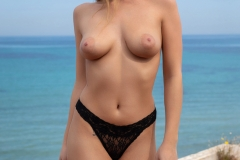 Hether Strips Naked from Black Lacy Lingerie for Photodromm 004