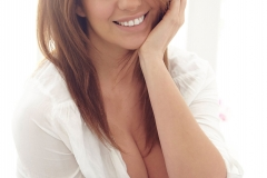 Holly Peers Big Breasts Revealed from White Shirt and Black Bra 01