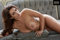 Holly Peers Big Tits Denim Shirt and White Bra 011