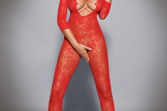 Holly Peers Big Tits Red Bodystocking 01