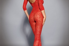 Holly Peers Big Tits Red Bodystocking 02