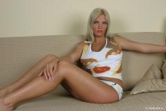 Ines Cudna Big Tits Little White Shirt and Shorts 001