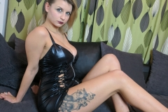 Isla White Naked Big tits and Black Latex Minidress 009