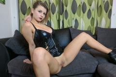Isla White Naked Big tits and Black Latex Minidress 011