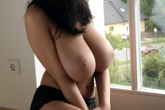 Jana Defi Fantastic Tits Black Bra and Stockings 15