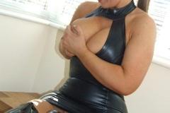Janey Buckingham Huge Boobs Tight Rubber Dress 02