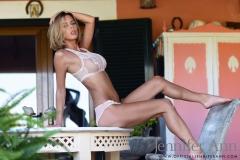 Jennifer Ann Big Boobs in White Lacy Lingerie 004