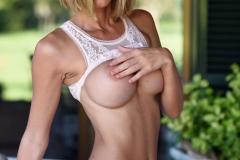 Jennifer Ann Big Boobs in White Lacy Lingerie 008