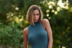 Jennifer Ann Big Boobs Peel Out from Green Bodysuit 002
